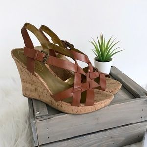 Guess 🌻 Essential Cork Wedge Leather Sandals